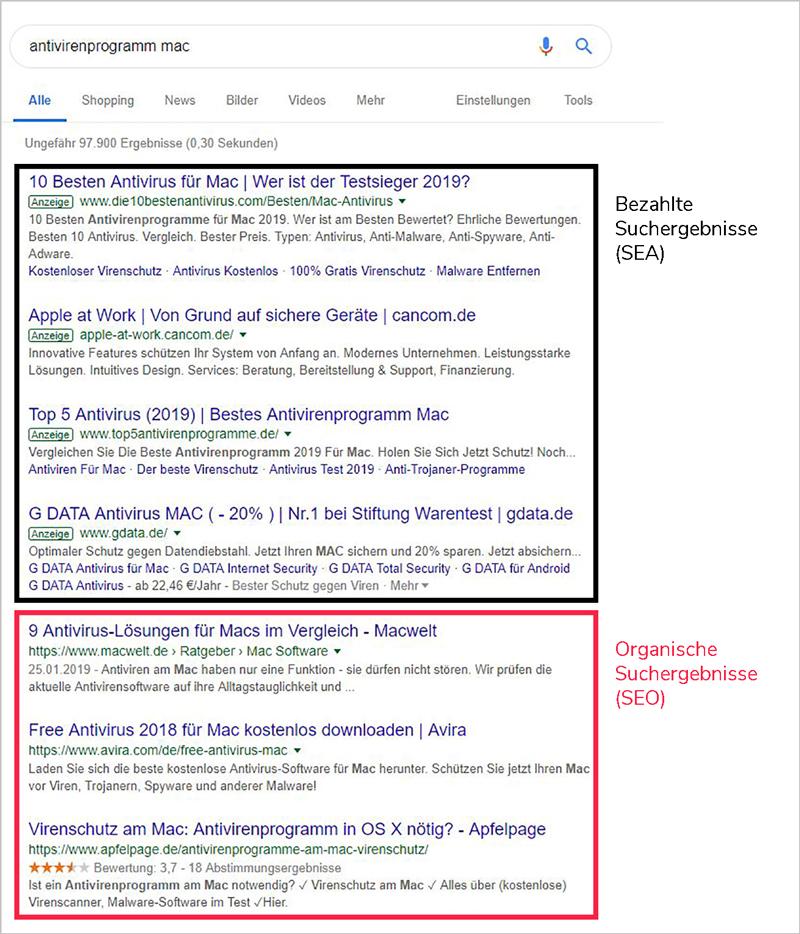 """Ein Screenshot von bezahlten und organischen Suchergebnissen, um die Frage """"Was bedeutet SEO?"""" beantworten zu können."""
