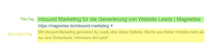 Meta Tags im Snippet für die Seite Inbound Marketing von Magnetise.