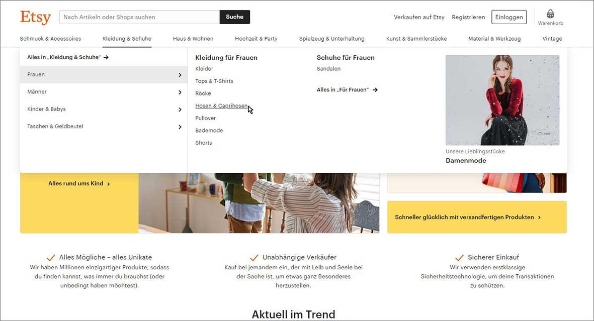Ein Screenshot aus der Etsy-Website, die als Website Navigation Beispiel dient.