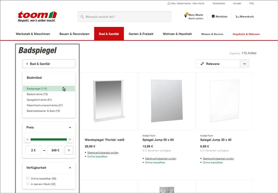 Ein Screenshot aus der Website-Filter-Funktion vom Toom Baumarkt, die als Website Navigation Beispiel dient.