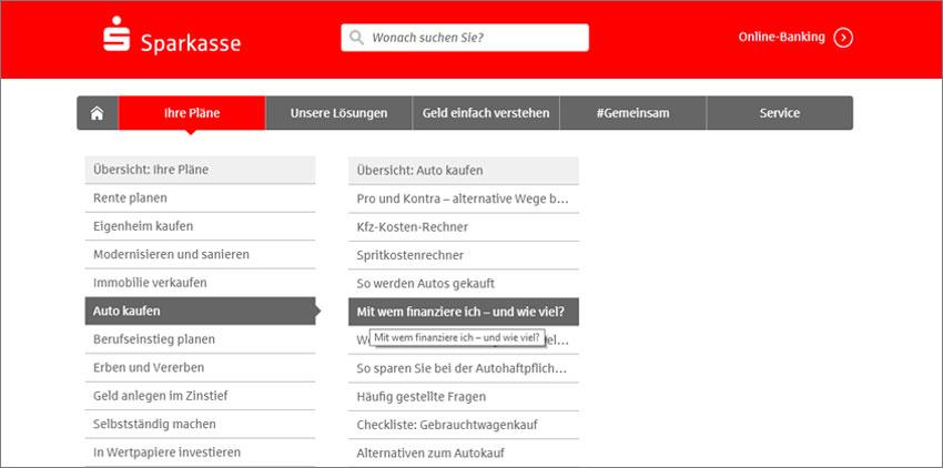 Ein Screenshot aus der Website von der Sparkasse, die als Website Navigation Beispiel dient.