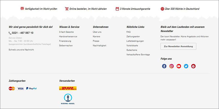 Ein Screenshot aus dem Website-Footer vom Toom Baumarkt, der als Website Navigation Beispiel dient.