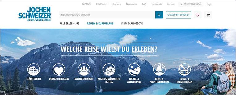 Ein Screenshot aus der Jochen Schweizer Website, die als Website Navigation Beispiel dient.