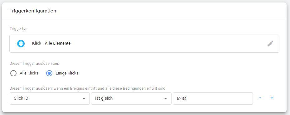 Trigger-Konfiguration für das Website Conversion Tracking .