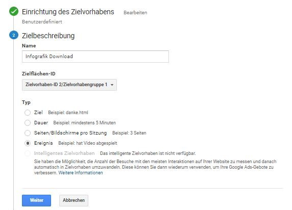 "Website Conversion Tracking über Typ ""Ereignis"" in Google Analytics anlegen (Teil 1)."