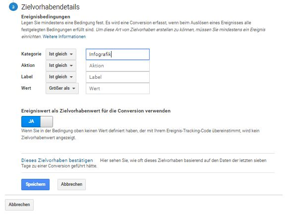 "Website Conversion Tracking über Typ ""Ereignis"" in Google Analytics einrichten (Teil 2)."