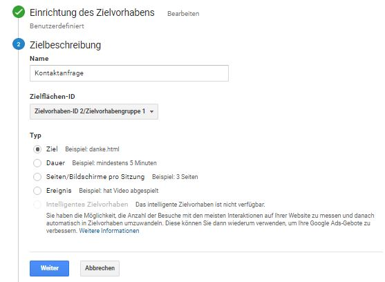 "Website Conversion Tracking über Typ ""Ziel"" in Google Analytics einrichten (Teil 1)."