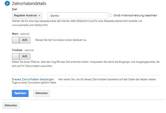 "Website Conversion Tracking über Typ ""Ziel"" in Google Analytics einrichten (Teil 2)"