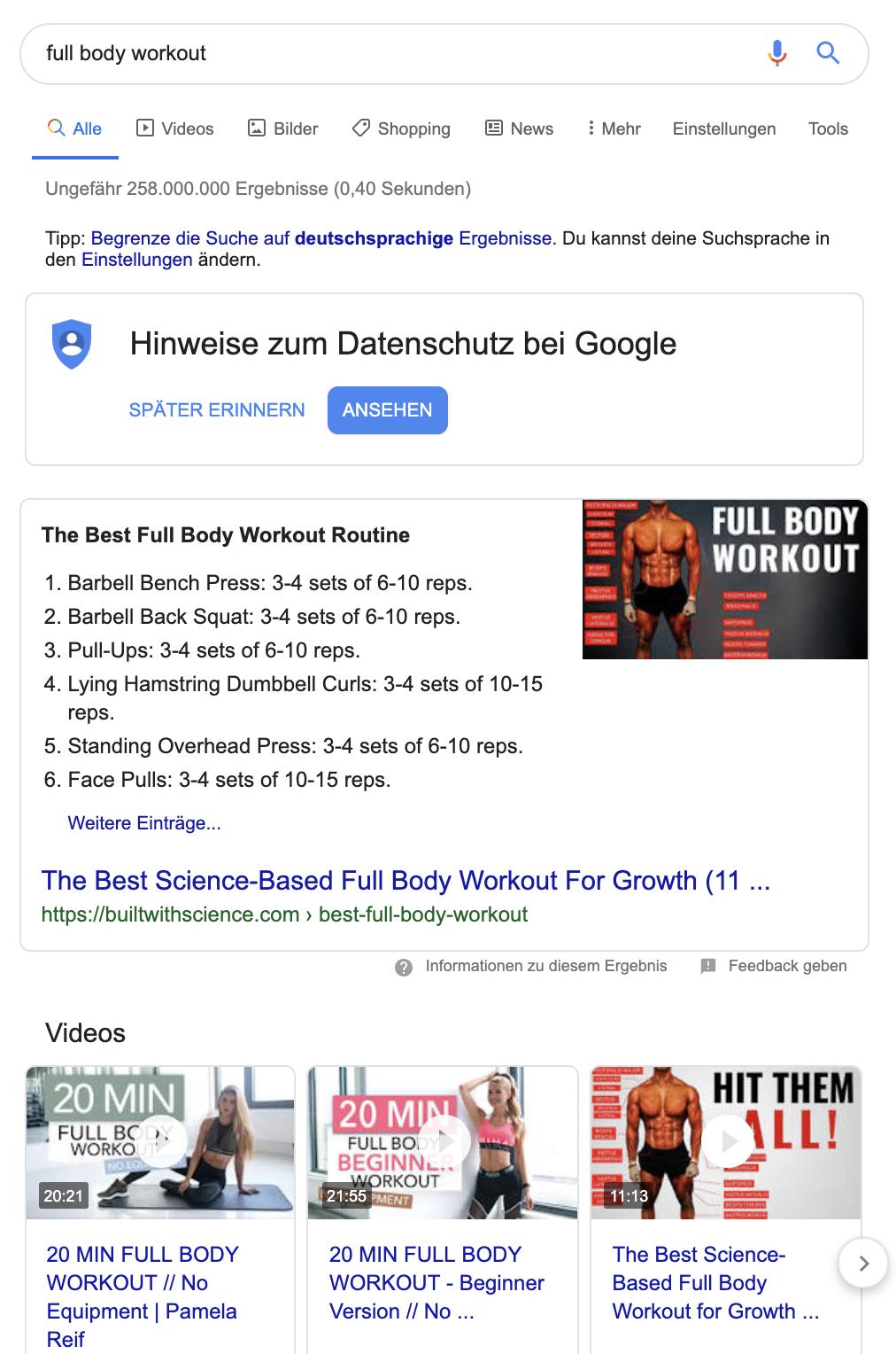 Screenshot einer Suchergebnisliste mit Rich Snippet und Videos.