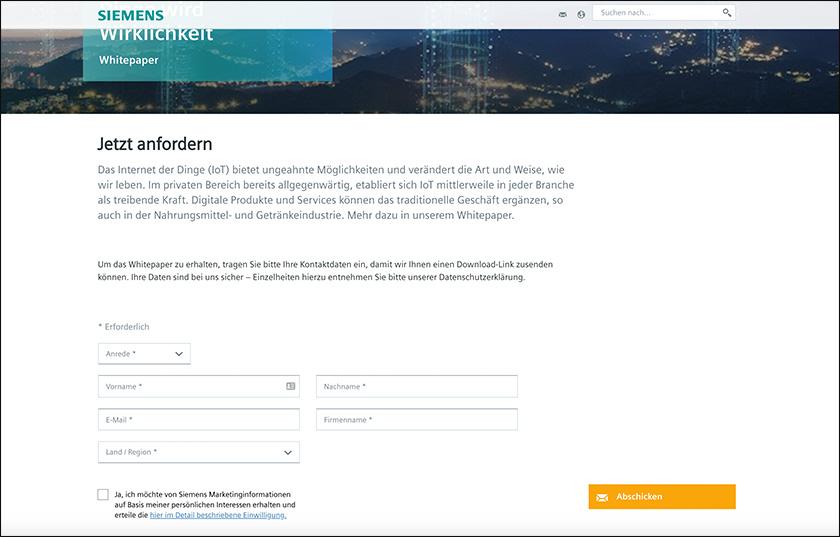 Beispiel für eine Leadgenerierung Maßnahme anhand eines Screenshots von der Siemens-Website.