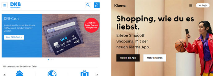 Website-Relaunch-Konzept: Designs im Vergleich (Screenshot DKB vs. Klarna.)